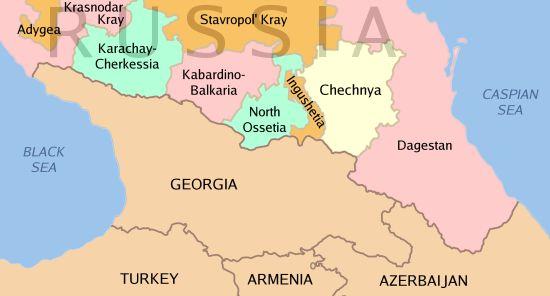 """Regiões norte-caucasianas na Federação Russa, repúblicas """"problemáticas"""" para a Rússia."""