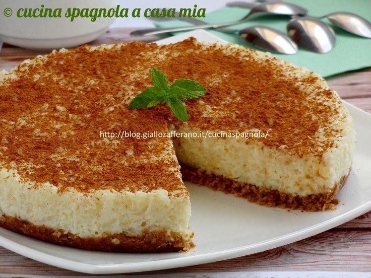 Torta di riso al latte: un dolce tipo cheesecake a base di riso bollito dolce e aromatizzato con cannella, vaniglia e limone. Da provare!