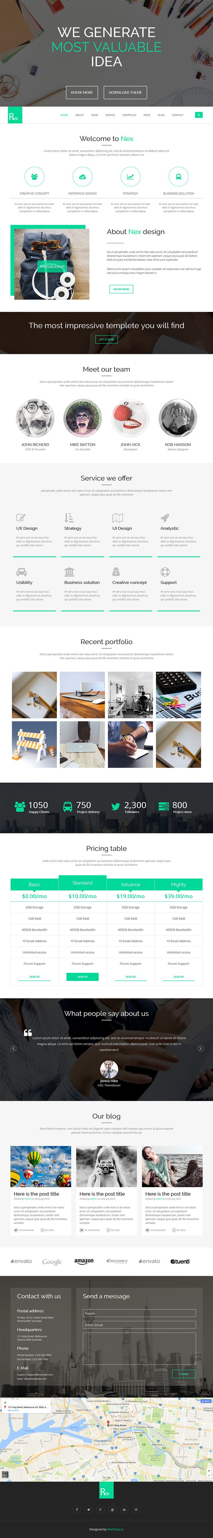 free multipurpose landing page html template rex graphicarmy - Free Html Pages