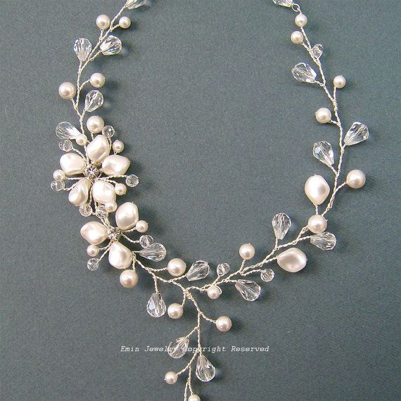 Pearls Bridal Necklace, Ivory Wedding  Necklaces, Bridal Jewelry, Flower Vine Design Y Shape Bridal Necklace, Statement Wedding Necklaces