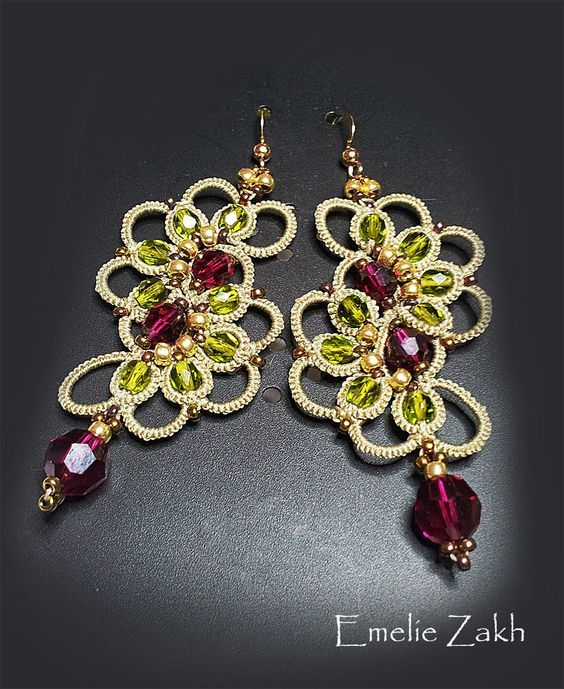 PDF Tatting Pattern Irada Earrings Instant Download by Emeliebeads: