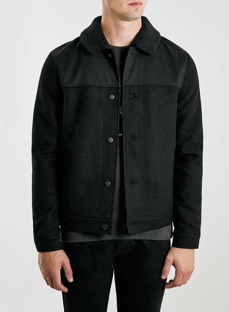 Black Wool Rich Borg Collar Jacket