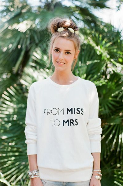 How cute is this sweatshirt from Rime Arodaky! http://www.stylemepretty.com/southeast-weddings/2015/04/23/rime-arodaky-2/