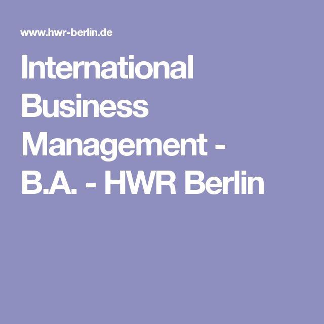 International Business Management - B.A.-HWR Berlin