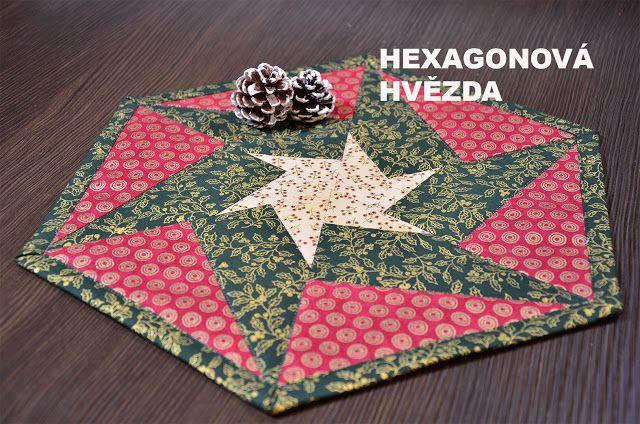 LIZA DECOR - deky, přikrývky, polštáře, andělky, bytové doplňky: Vánoční hvězda ve tvaru hexagonu