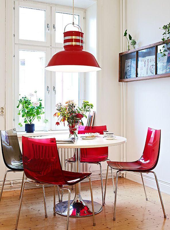 red lamp, dining area
