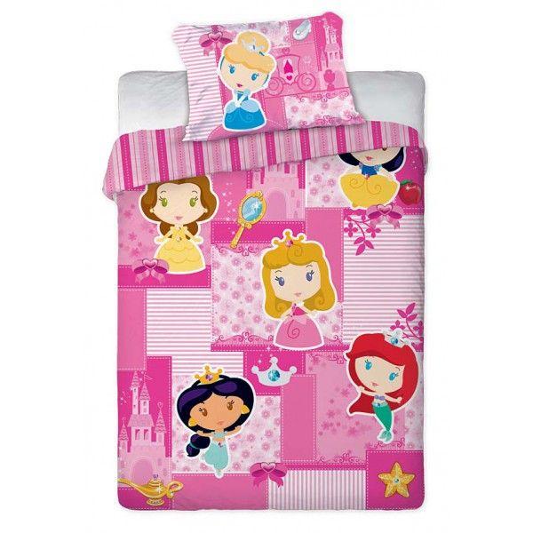 Disney junior sengetøj til piger i lyserød med Ariel, Askepot, Snehvide, Jasmine, Tornerose og Belle