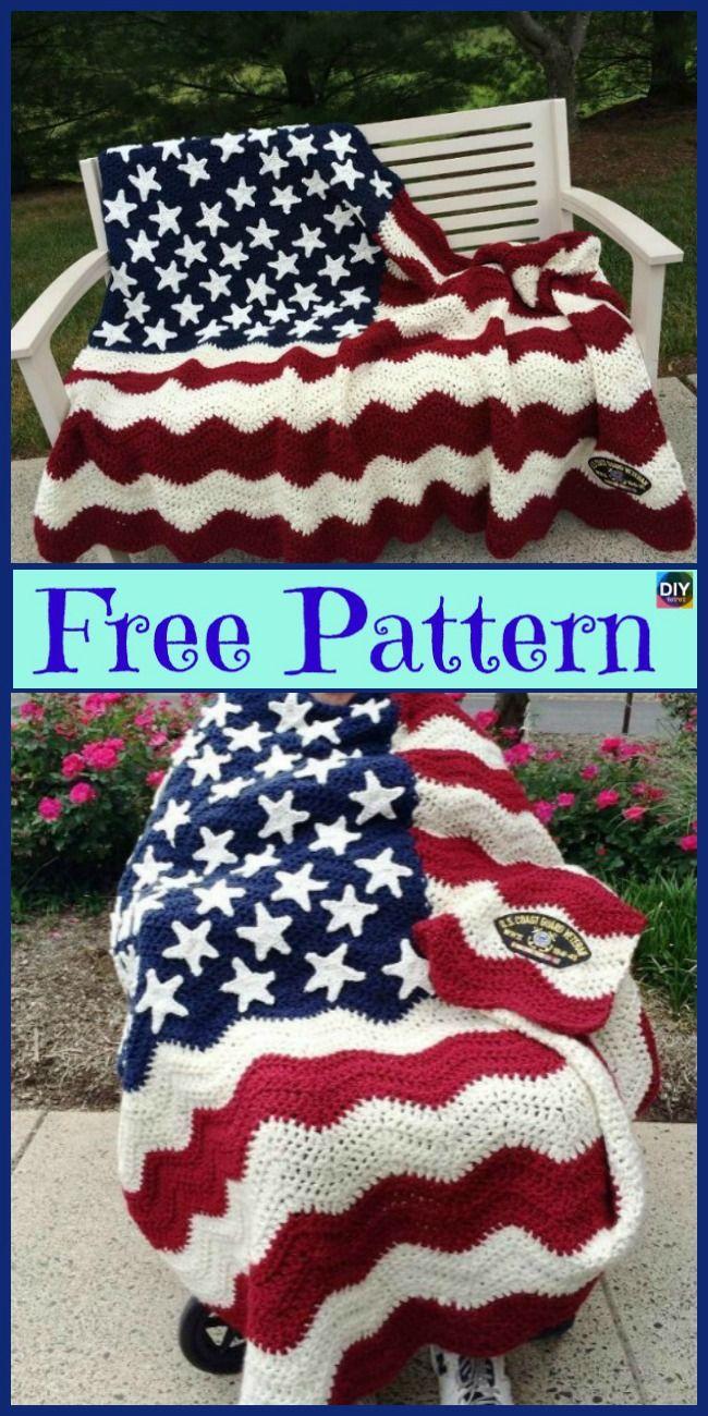 6 Unique Crochet American Afghan Free Patterns Crochet Pinterest