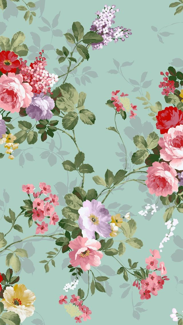Aqua floral wallpaper   papel tapiz   Pinterest   Red green, Flower and Cases