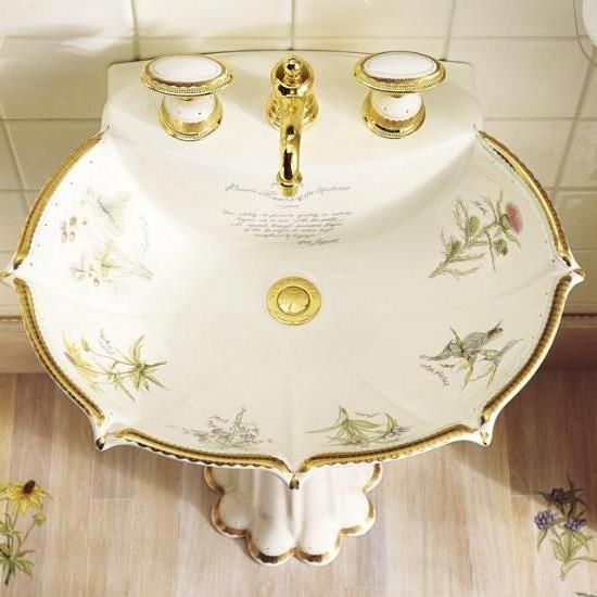 Painted Pedestal Sink With Gold Leaf   Bathroom Equipment   Pinterest    Pedestal, Vintage And Photos