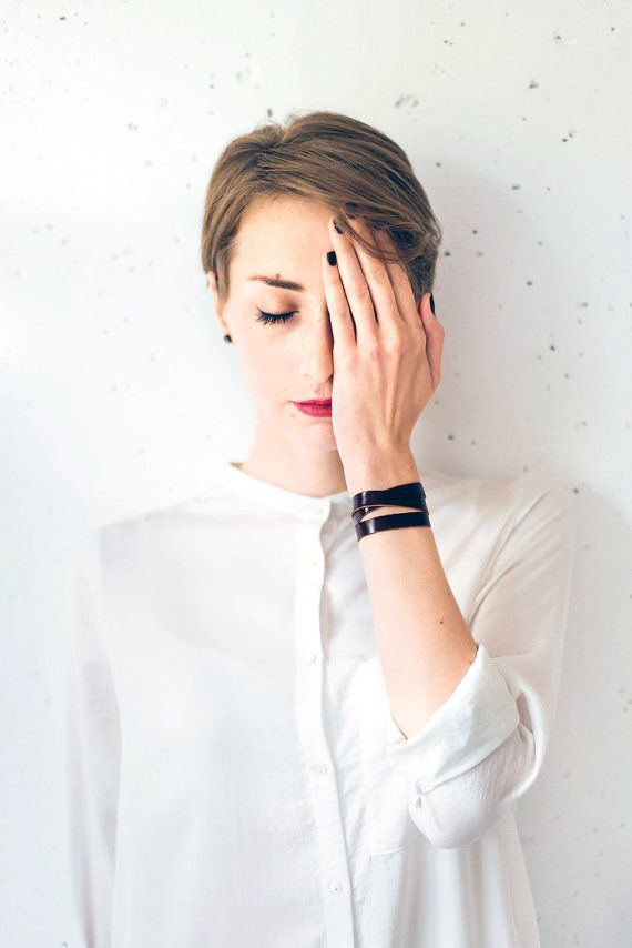 Maroon leather bracelet, Wrap bracelet, Women leather bracelet, Leather bangle brown bracelet wrap around wrist, triple wrap bracelet