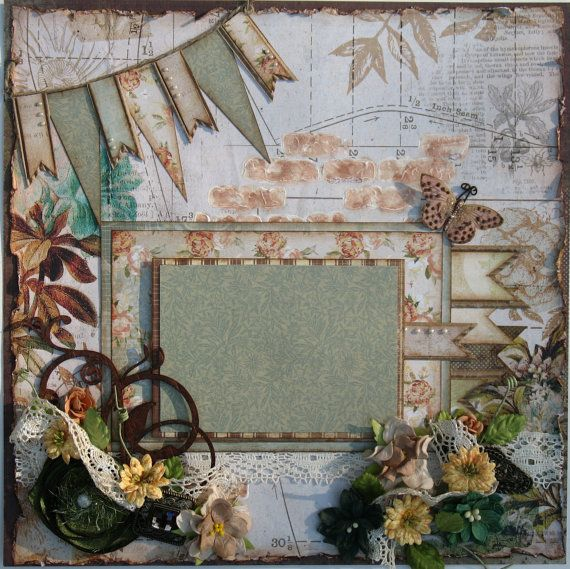 Premade Scrapbook Page 12 x 12, Shabby Chic, Vintage