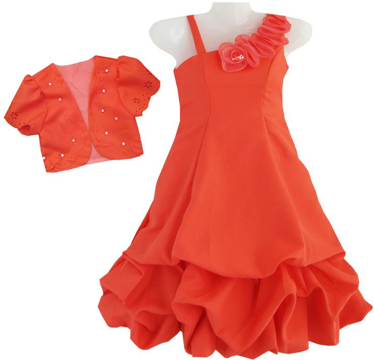 2 Pecs Girls Dress Red Pageant Shoulder Pleated Holiday Halloween Kids SZ 6-10