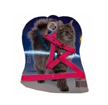 Шлейка для кошек «Зооник» розовая, поводок 1.5 м