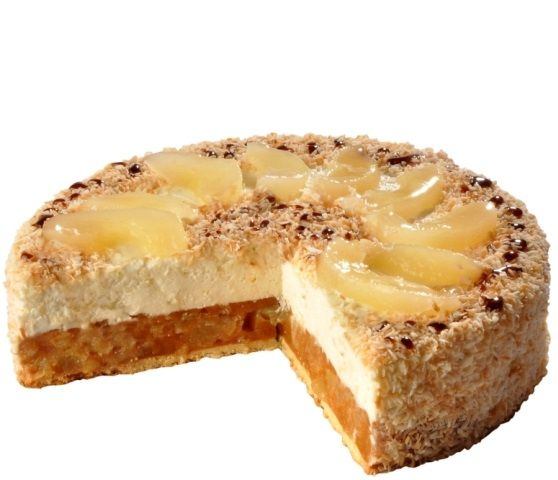Valentino dort Lehký letní dezert Toskánského původu.Tělo dezertu je tvořeno hruškovým pyré se skořicí, vrchní vrtsvu dortu tvoří tvarohový sýr ricotta s kousky limetkové kůry, posypané kokosem a top je ozdoben plátky hrušek s kapkami karamelu.