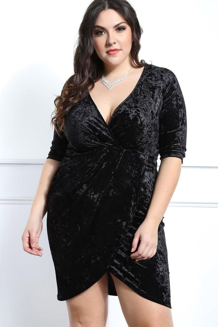 Velvet Heaven Plus Size Surplice Dress Dresses+ GS-LOVE
