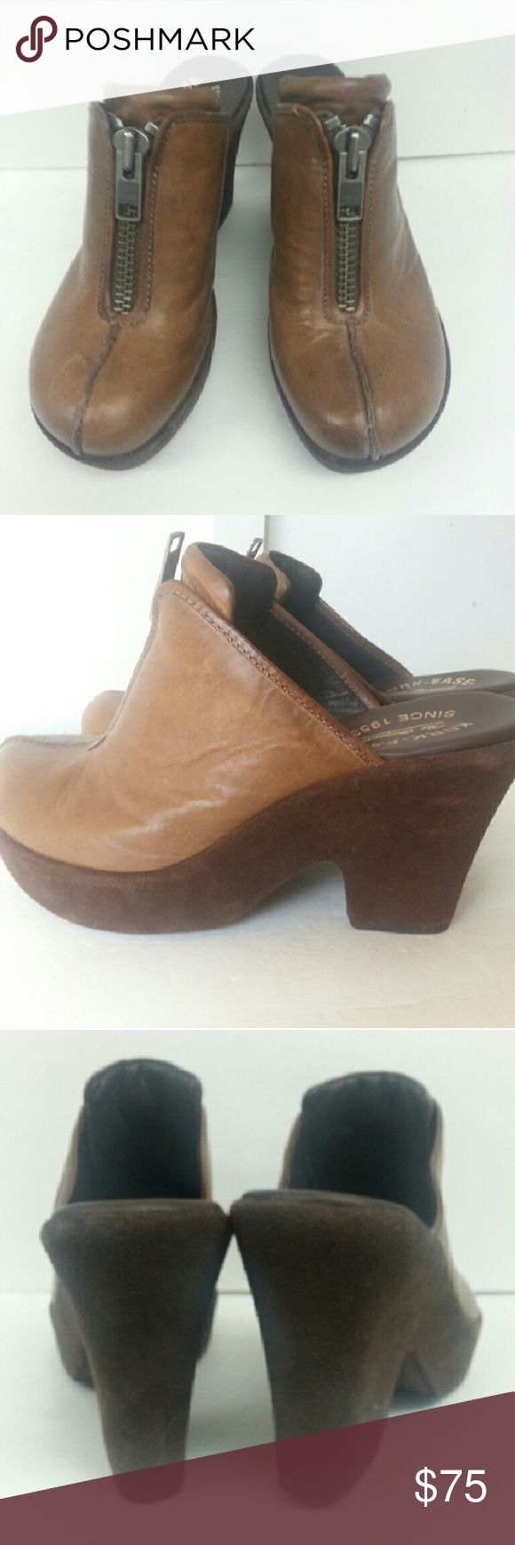 KORK EASE  CLOGS Leather Kork Ease clogs with zips up the front and brown suede heels. Kork Ease Shoes Mules & Clogs