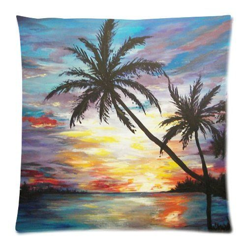 Buy Huirong Pillowcase Design style Tropical Beach Sunset Palm ...