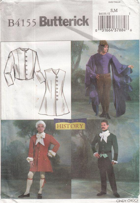 Butterick 4155 Mens Colonial, redingote victorien, Renaissance médiévale Troubadour bouffon veste taille S, M Costume