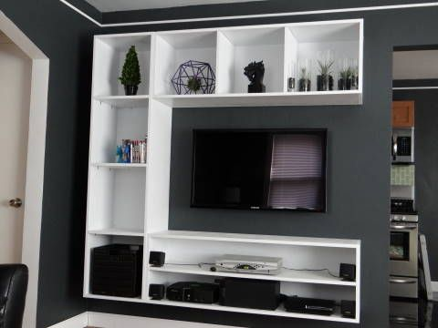 Interior Design Living Room Makeover DIY Floating Shelves Entertainment