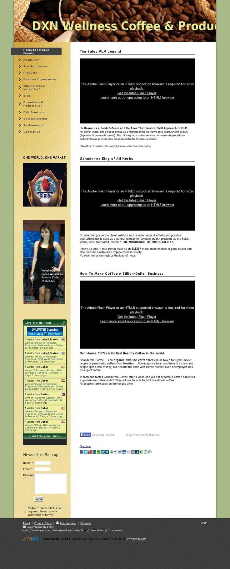 The website 'dxnwellnesscoffee.jimdo.com' courtesy of @Pinstamatic (http://pinstamatic.com)