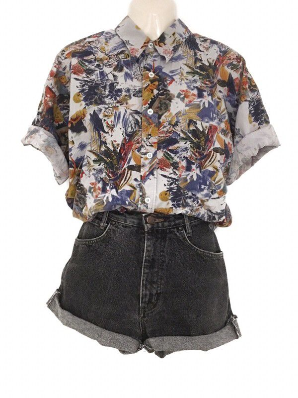 True Vintage Hawaii Look Oversize Pattern Shirt Blouse Short Sleeve Summer Hippie Urban Street Unisex