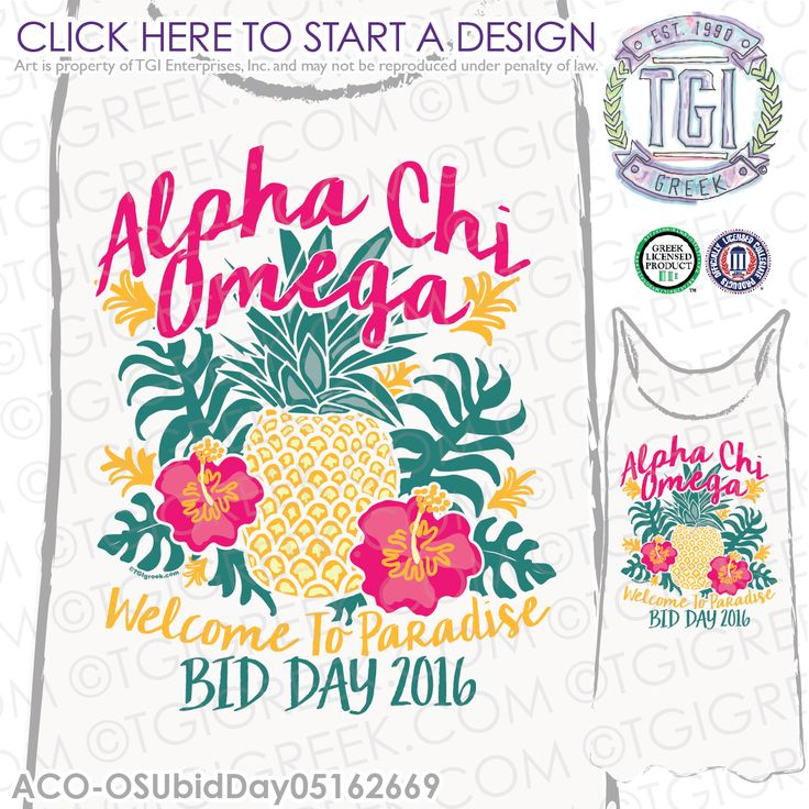 TGI Greek - Alpha Chi Omega - Spirit Week - Recruitment - Greek Apparel…