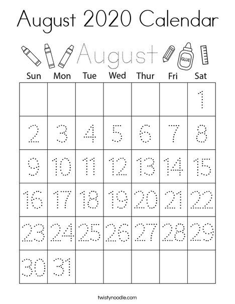 August 2020 Calendar Coloring Page - Twisty Noodle in 2020 ...