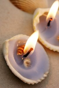 Seashell crafts ideas- make your own shell candles with craft store wicks and melted wax.
