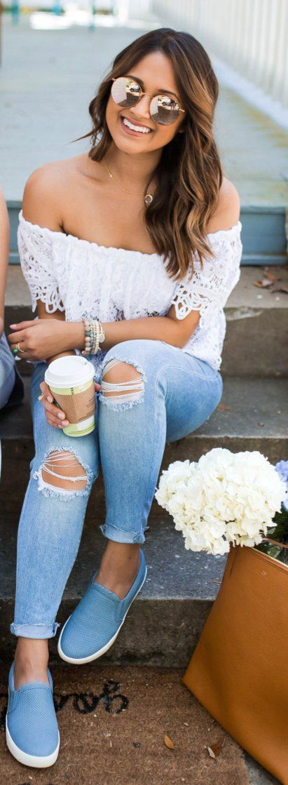 #spring #outfits White Lace Off The Shoulder Top & Destroyed Skinny Jeans & Blue Sneakers