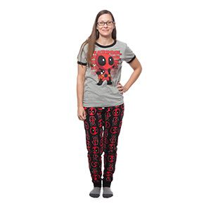 Two piece ladies' sleep set features adorable kawaii Deadpool, getting his chibi on. Heather grey ringer top featuring a chibi Deadpool print, and matching black pants with a pattern of the little dude and his disembodied masked head.