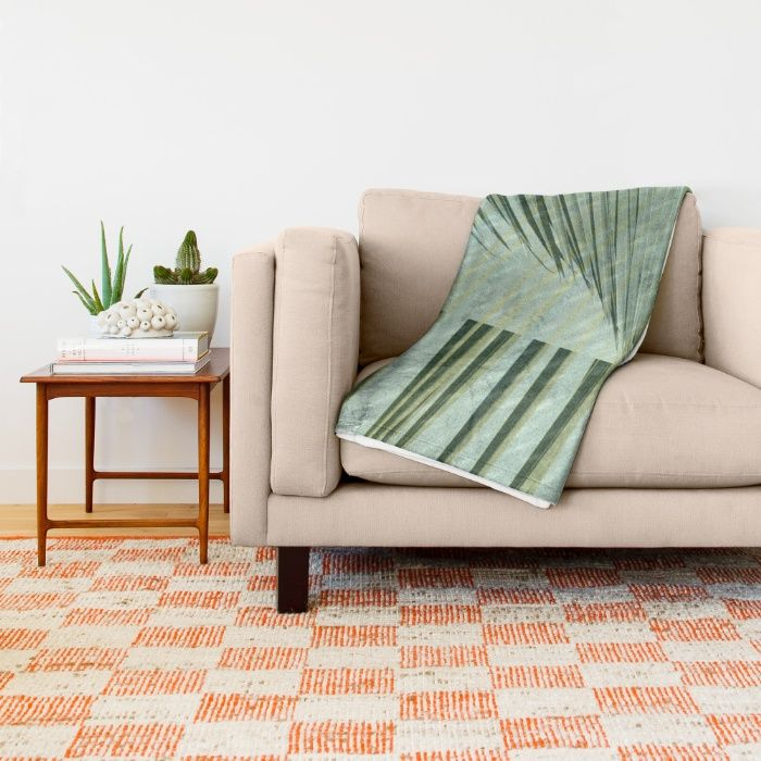 Flash Flood Warnings Throw Blanket by Vikki Salmela, new, #tropical #palm leaves in the #rain #storm. #Abstract #art in #green, a #home #decor #accessory to keep you warm during the storm. Coordinates great with the throw #pillows #rugs #mugs framed #prints #clocks and more! Perfect #cozy original #gift.