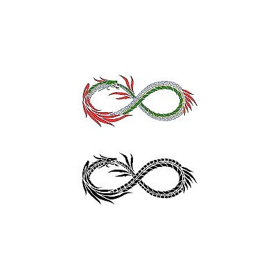 A small easy tattoo design of the infinity symbol made of a Chinese dragon.
