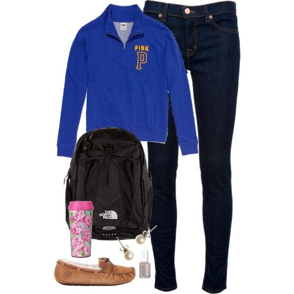 School {Now Thanksgiving Break!} by classically-preppy on Polyvore featuring polyvore, fashion, style, Victoria's Secret PINK, J Brand, UGG Australia, J.Crew, The North Face, Essie and Lilly Pulitzer