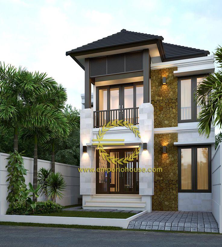 Desain Rumah 2 Lantai 3 kamar Lebar Tanah 8 meter dengan ukuran Tanah 1 are/100m2