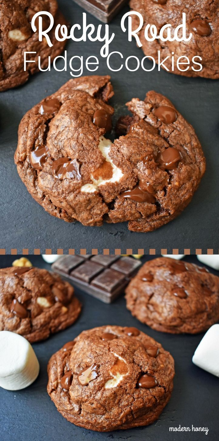 Double Chocolate Marshmallow Nut Cookies. Rocky Road Fudge Cookies made with rich double chocolate cookie dough wrapped around a large ooey gooey marshmallow and baked to perfection. Chocolate Marshmallow cookie that everyone loves. www.modernhoney.com