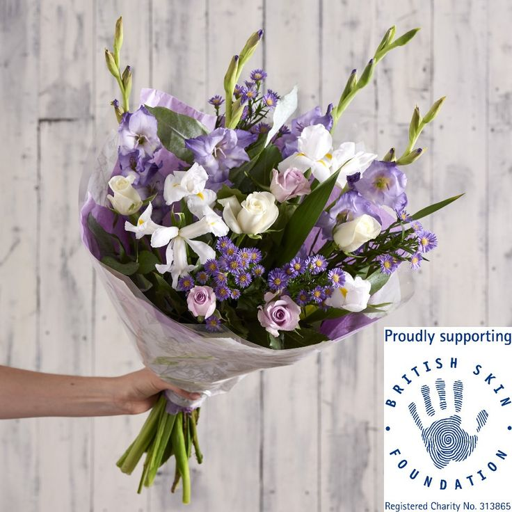 A stunning seasonal mix that will brighten anyone's day, full of gladioli, September flower, iris, lilac & white roses. 10% of the selling price of this bouquet goes to our charity of the month: The British Skin Foundation. Registered charity number 313865.