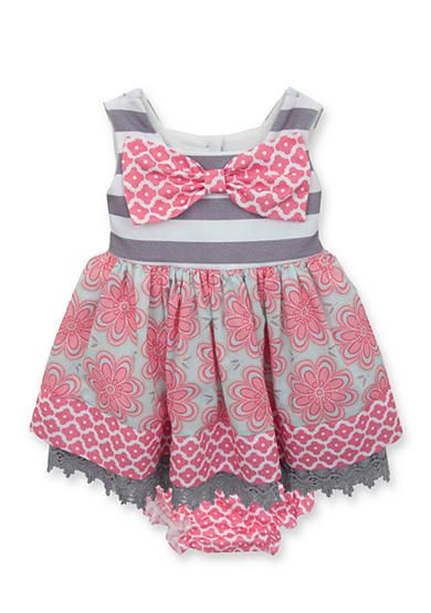 Counting Daisies by Rare Editions Gray White and Pink Striped Print Dress