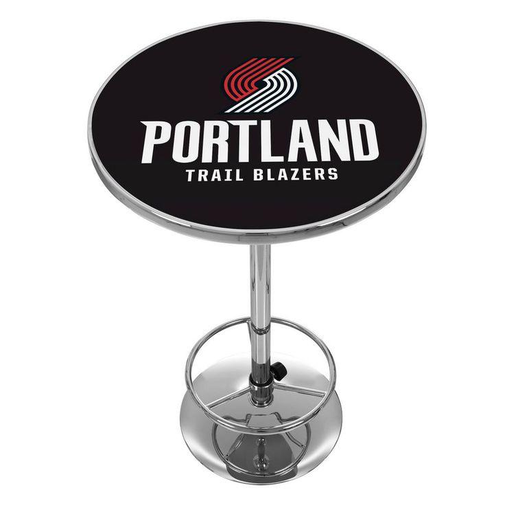 NBA Portland Trail Blazers Chrome Pub/Bar Table, Portland Trail Blazers Logo Black
