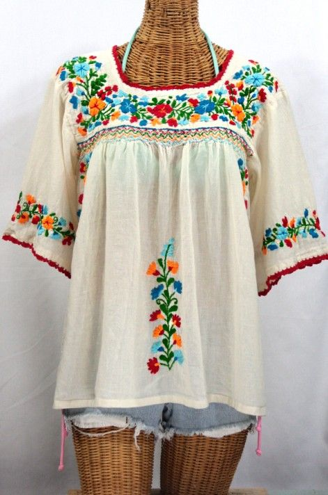 "Happy Holidays!  Siren's ""La Marina"" Embroidered Mexican Blouse in Off White with Fiesta Embroidery is back in stock!!!"