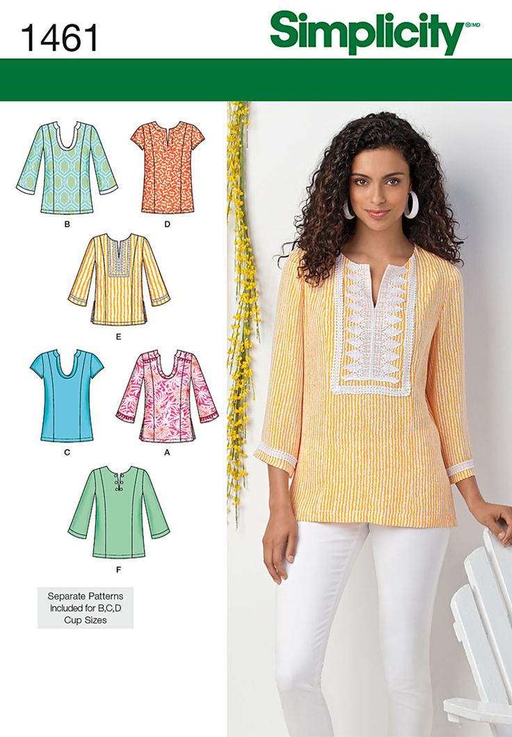 Simplicity 1461.  Can be made with three quarter length or short sleeves, neckline and trim variations.  B,C, D cups for Misses.
