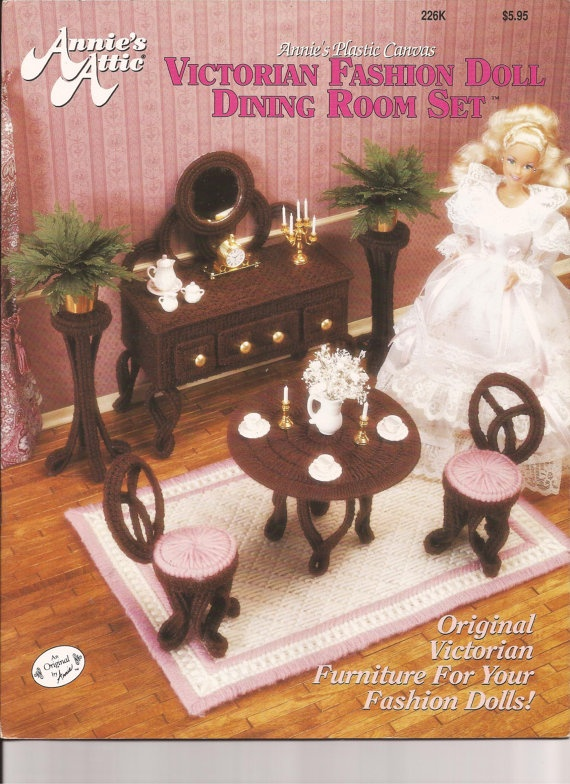 Plastic canvas fashion doll victorian dining room pattern book
