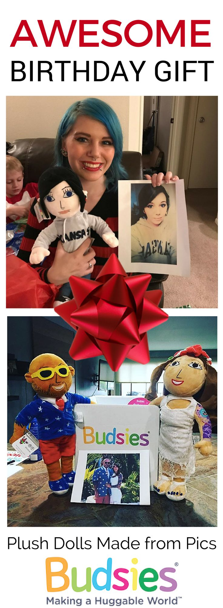 Turn a picture of your friends and loved ones into plush dolls that look just like them! It's a super fun and unique birthday gift idea that they will surely love! Get started at www.budsies.com