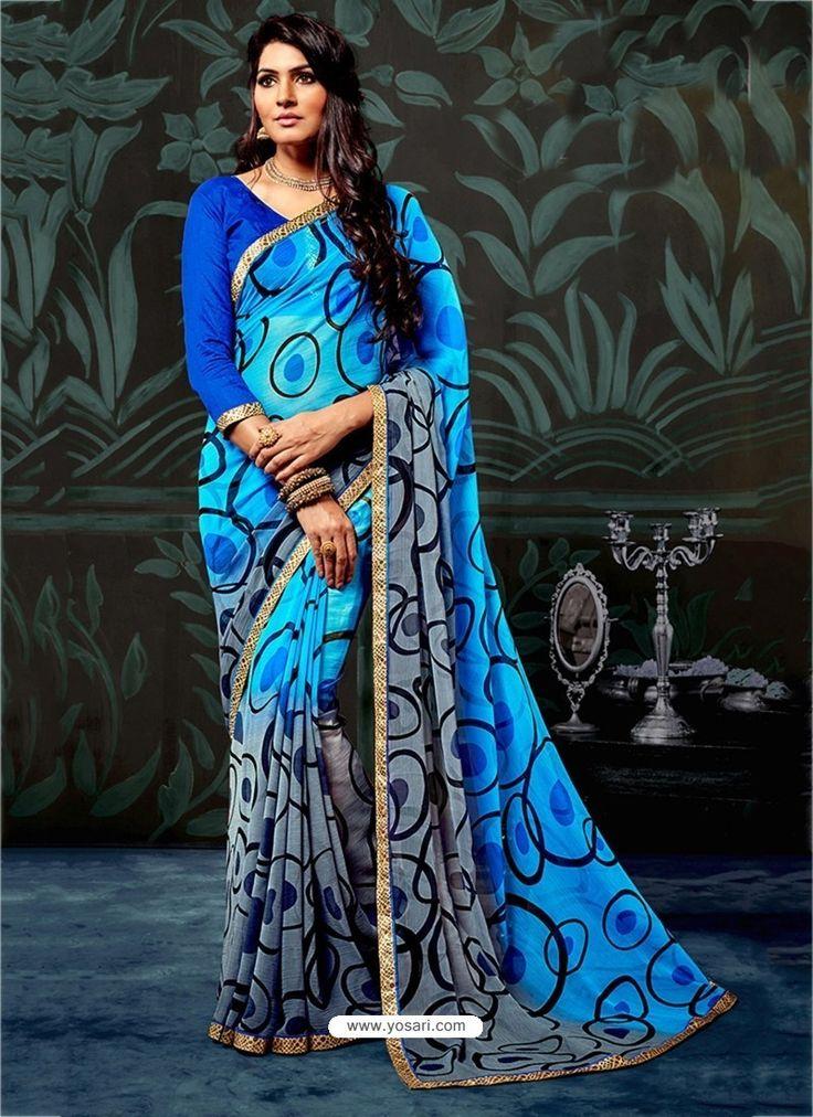 Blue Chiffon Printed Saree
