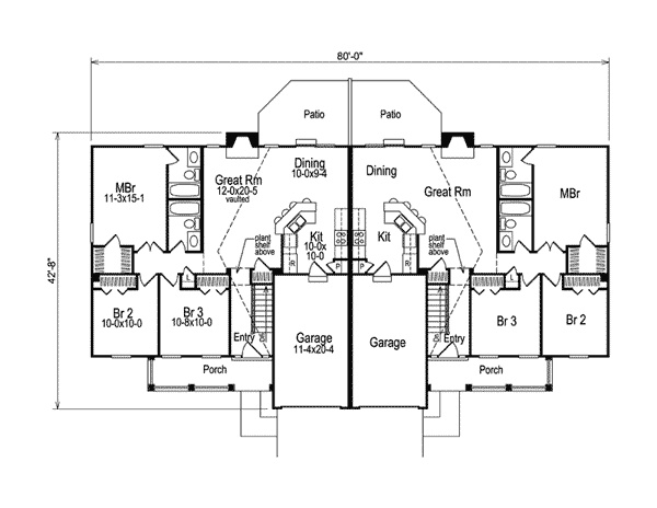 Shadydale multi family duplex income property for Ranch duplex floor plans