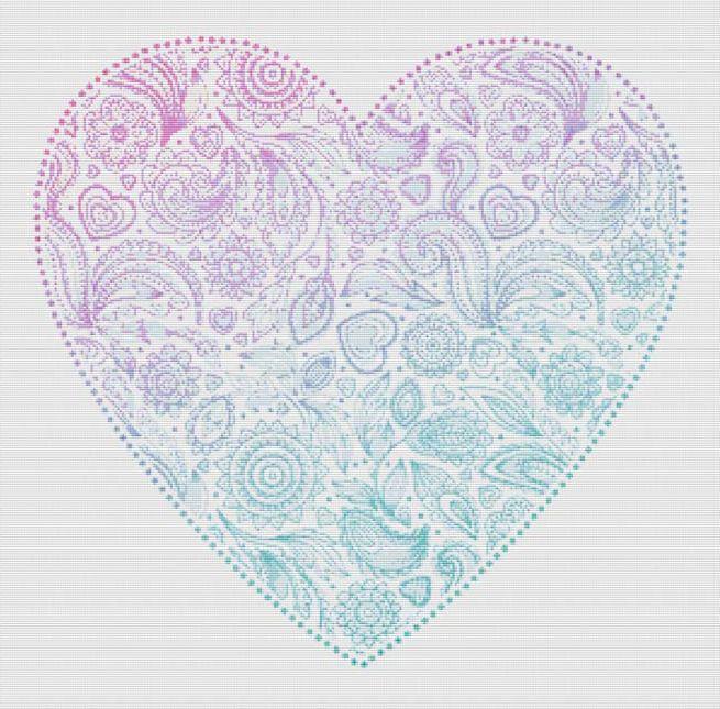 Paisley Heart Cross Stitch Pattern