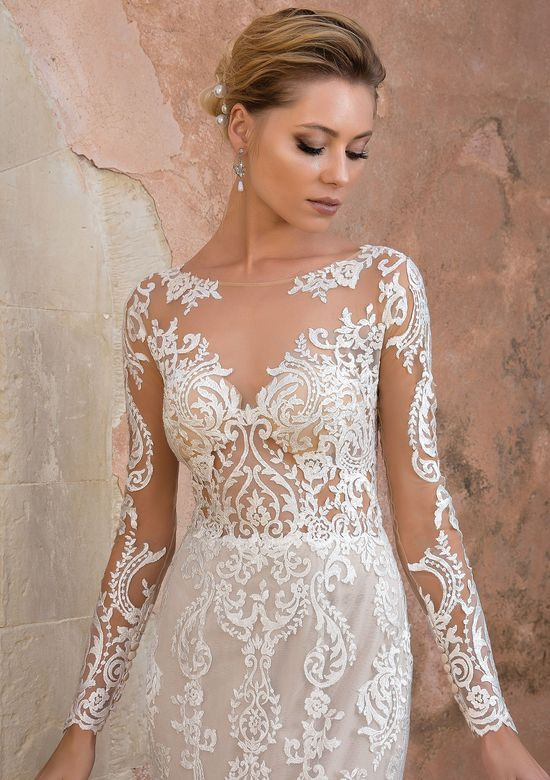 79ddff31026e Justin Alexander - Style 88049: Allover Lace Illusion Long Sleeve Fit and Flare  Gown
