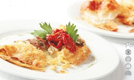 Omelette de champiñones y queso.