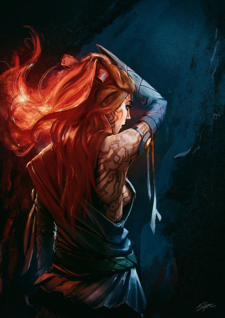 Resultado de imagem para redhair fight fantasy art