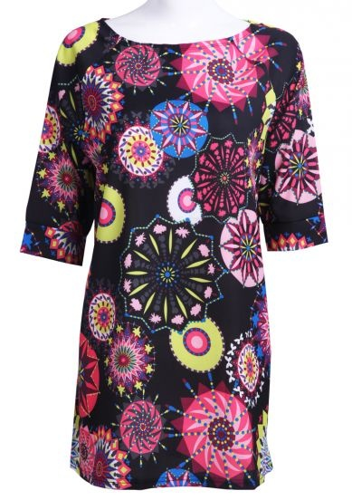 Black Half Sleeve Sunflowers Print Chiffon Dress #SheInside